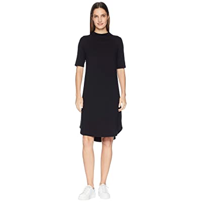 Eileen Fisher Viscose Jersey Drape Neck Elbow Sleeve Dress (Black) Women