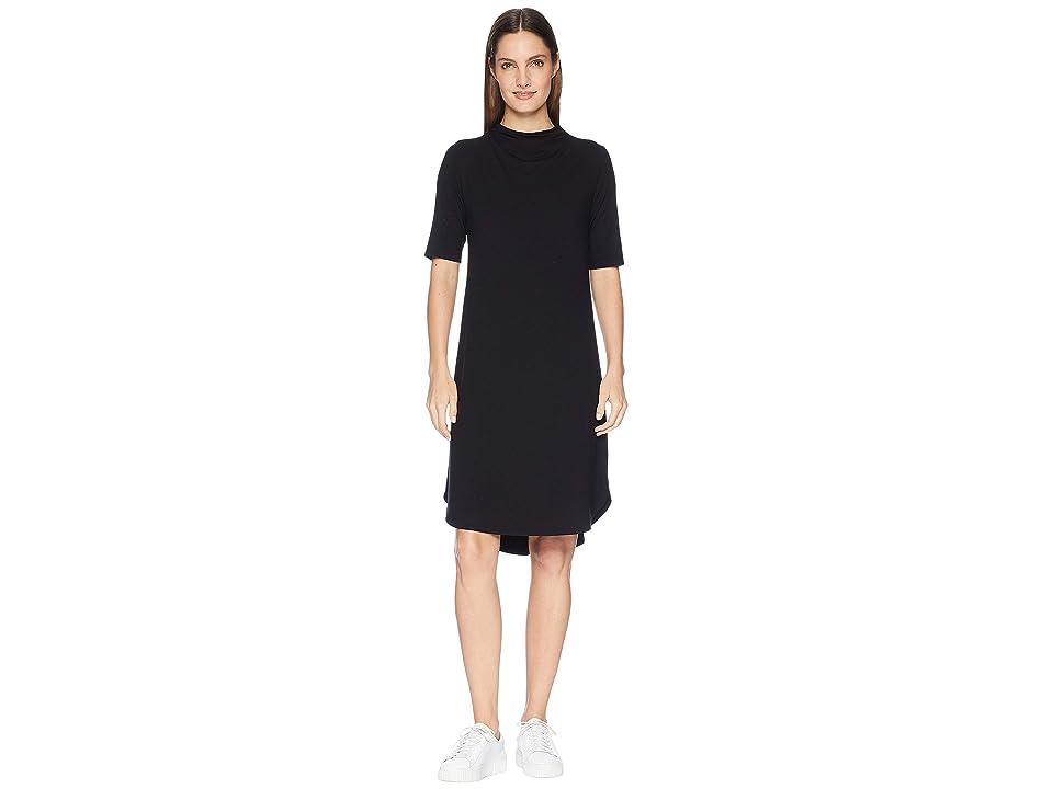 Eileen Fisher Viscose Jersey Drape Neck Elbow Sleeve Dress (Black) Women