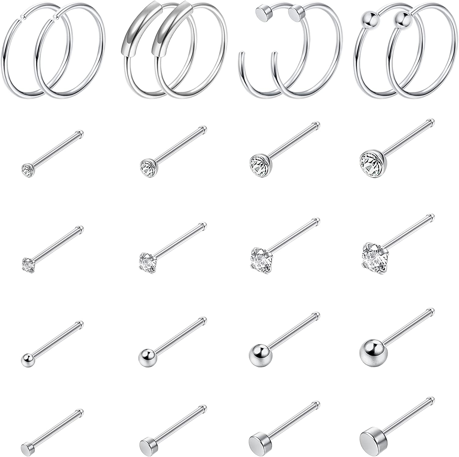 Drperfect 24PCS Nose Ring Studs, Stainless Steel Nose Rings Hoop Bone Screw L-Shaped Nose Studs Tragus Cartilage Helix Earrings Hoop Nose Piercing Jewelry for Women Men