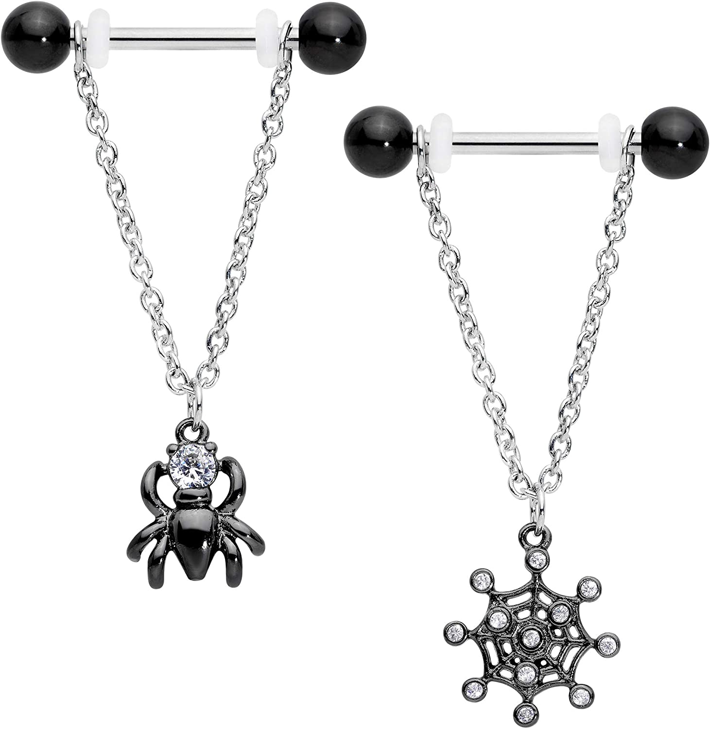 Body Candy 14G Womens Nipplerings Piercing Steel 2Pc Clear Accent Spider Chain Dangle Nipple Ring Set 5/8