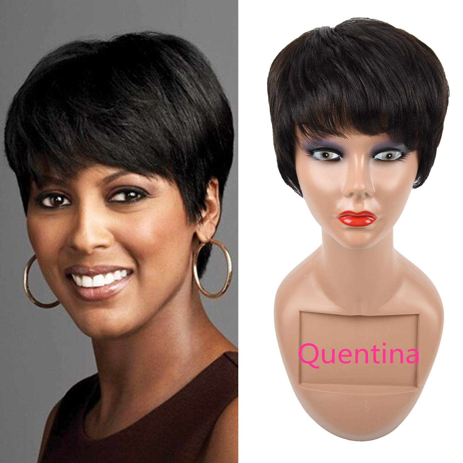Human Hair Short Wig Short Pixie Wigs For Black Women Lace Front Wigs Human  Hair Natural Color 11g