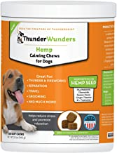 ThunderWunders Hemp Dog Calming Chews - Anxiety Supplement Hemp Seed Oil, Thiamine, L-Tryptophan, Melatonin Ginger - Relieve Stress from Separation, Storms, Fireworks & Travel