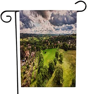 Capsceoll Garden Flag Outdoor 12.5X18 Inch,Double Sided Awesome Aerial View Green Hills Fields Fruit Trees Dramatic Light Scenic Sky Meadows Decorative Yard Flag for Outdoor Garden Yard