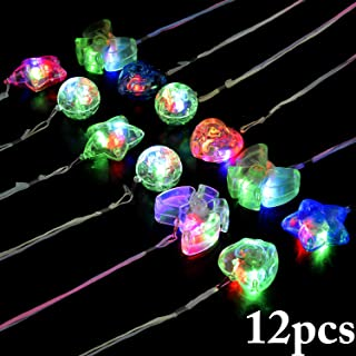 B bangcool Light Up Necklace LED Necklaces - Crystal Star Necklaces Light up Toys Dark Party Favor Supplies Accessories Glowing Colorful Shinning Toy for Kids & Adults(12 Pcs)