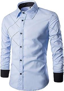 Men's Shirt Slim Fit Diamond Lattice Check Shirt Checkered Long Sleeve Shirt Leisure Business Shirt Men Button Down Classi...