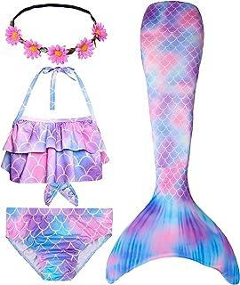 Mermaid Tail Swimmable Bikini Swimming Costumes 4pcs Sets...