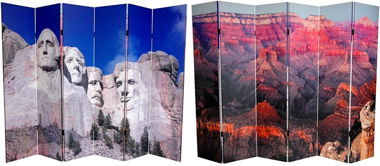 Oriental Furniture Extra Wide Large Size Photo Wall Decor Print, 6-Feet Double Printed National Monuments Room Divider, Rushmore and Grand Canyon