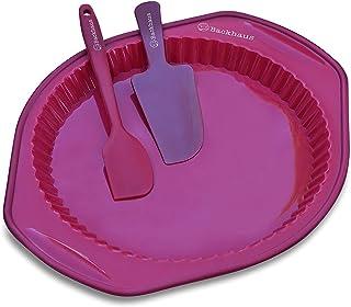 Backhaus Molde Redondo para Quiche y Tarta, Juego de Repostería de Silicona Platino Antiadherente con Espátula y Cuchillo de Pastel (Rojo)