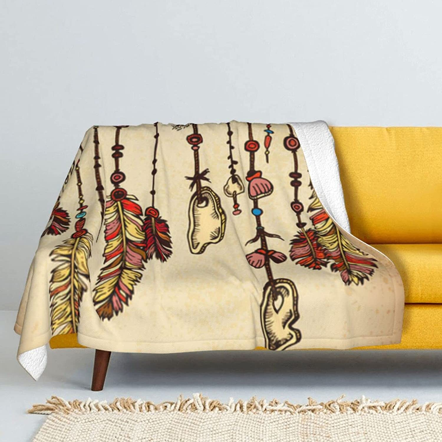 Ethnic Feathers Lamb Wool Spring new work one after free shipping another Throw Super Double-Sided Blanket Soft