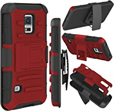 Galaxy S5 Case, Zenic(TM) Hybrid Dual Layer Armor Defender Full-Body Protective Case Cover with Kickstand & Belt Clip Holster Combo for Samsung Galaxy S5 i9600 Case (Red/Black)
