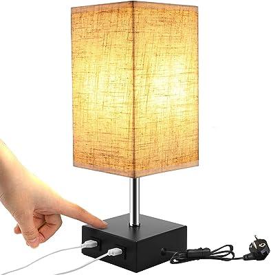 Lightess Lampe de Chevet Tactile Dimmable 2 USB Avec Ampoule E27 Abat-jour en Tissu Beige Lampe de Table pour Chevet Bar Chambre Salon Hotêl Café Chambre d'Enfant Salon Bureau (Ampoule Blanc Chaud)