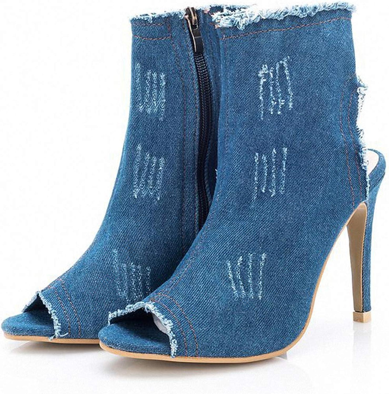 Women Boots, Retro Denim Peep Toe Open Heel Dating Ankle Boots
