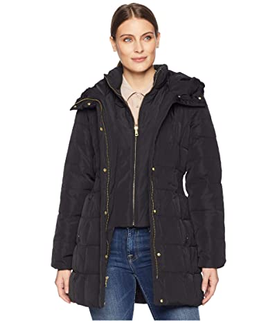 Cole Haan Down Coat with Bib Front and Dramatic Hood (Black) Women