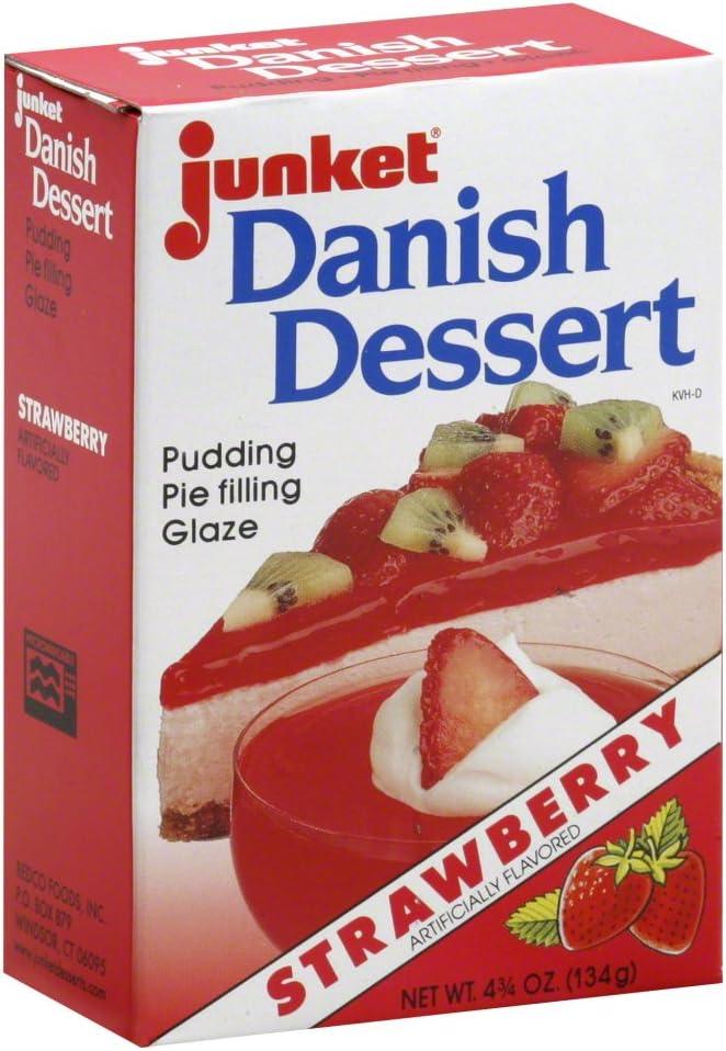 Junket Danish Dessert Strawberry 4.75 Oz (Pack of 3)