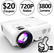 DR. J Professional 3800L [Native 1280x720] Portable Video Projector Full HD 1080P Supported Mini Projector, TV Stick, HDMI, VGA, USB, TF, AV, Sound Bar, Video Games Compatible Latest Upgrade