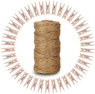 KINGLAKE 328 Feet Natural Jute Twine with 100 Pcs Mini Natural Wooden Clothespins Photo Pegs Craft Pictures Clips