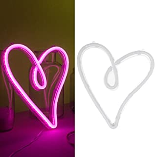 Ling's moment USB & Battery Powered Pink Heart Neon Lights Hanging Wedding Sign Novelty Decor Lights for Bedroom for Girls Women Sign for Bedroom Hawaii Party Bridal Shower Birthday Party Decor