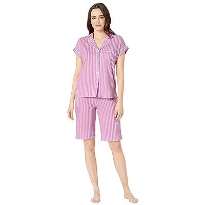 LAUREN Ralph Lauren Notch Collar Bermuda Shorts Pajama Set (Pink Stripe) Women