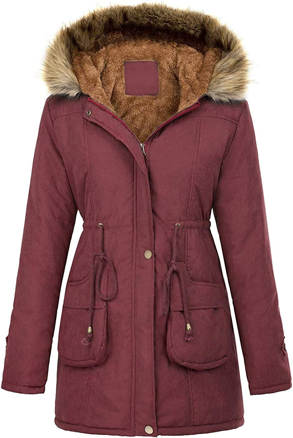 Bankeng Womens Hooded Warm Winter Coats with Faux Fur Lined Outerwear Jacket