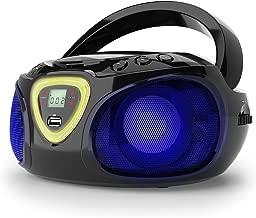 auna Roadie • Portable Boombox with CD Player and Radio • LED Light • AM/FM Radio • Bluetooth • MP3/CD Player • Aux-Input • Headphone Jack • Black