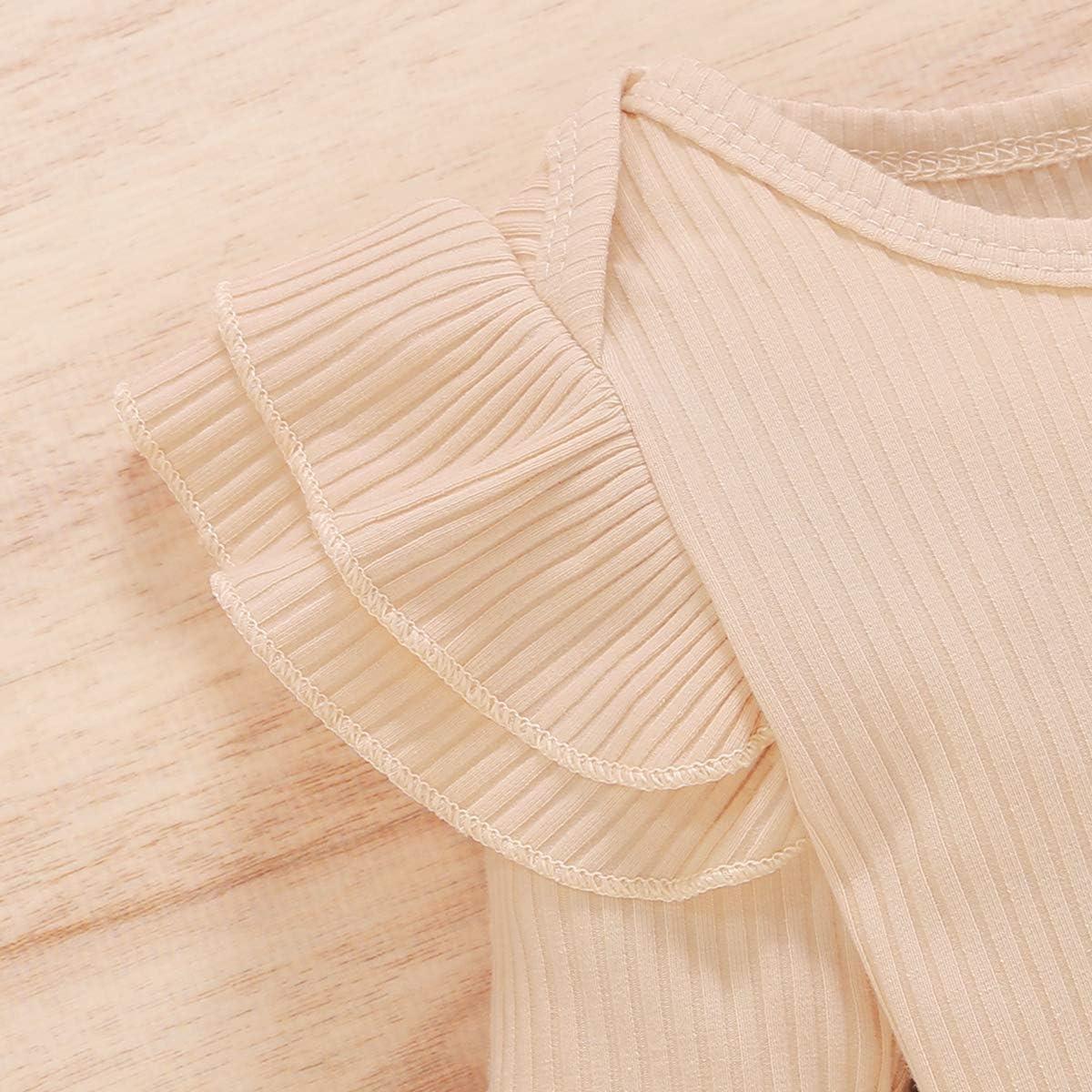 CARETOO 3Pcs Baby Girls Bodysuit Tops Outfits Set, Soft Cotton Infant Girl Long Sleeve Clothes Sets