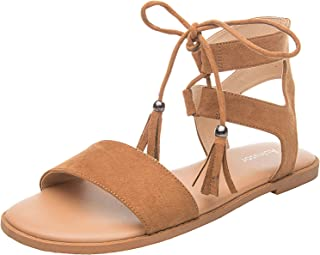 Women's Wide Width Flat Sandals - Comfortable Lace up Fringed Tassel Ankle Strap Suede Dress Shoes.