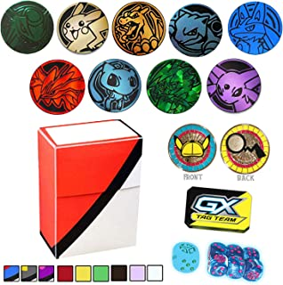 Totem World 10 Official Collectible Plastic TCG Coins Counter Marker & Dice Set with Totem Deck Box - No Duplicates - Perfect for Pokemon Fan Collectors