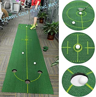 SPRAWL 12 Feet Golf Practice Putting Mat Green Portable Easy Rolling Storage Professional Putt Trainer Fathers Thanksgiving Gifts