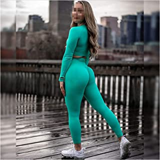 Yoga Set Women's Sportswear Seamless Gym Clothing Fitness Leggings+Cropped Shirts Sport Suit Long Sleeve Tracksuit Active ...