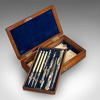 Ensemble d'instruments de dessin vintage, anglais, compas de rédaction et compas, circa 1930
