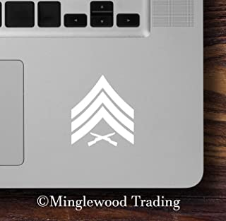 """Minglewood Trading White - 2x USMC E-5 Sergeant Insignia 2"""" x 2.5"""" Vinyl Decal Stickers E5 - Sgt Marines Corps - 20 COLOR OPTIONS"""