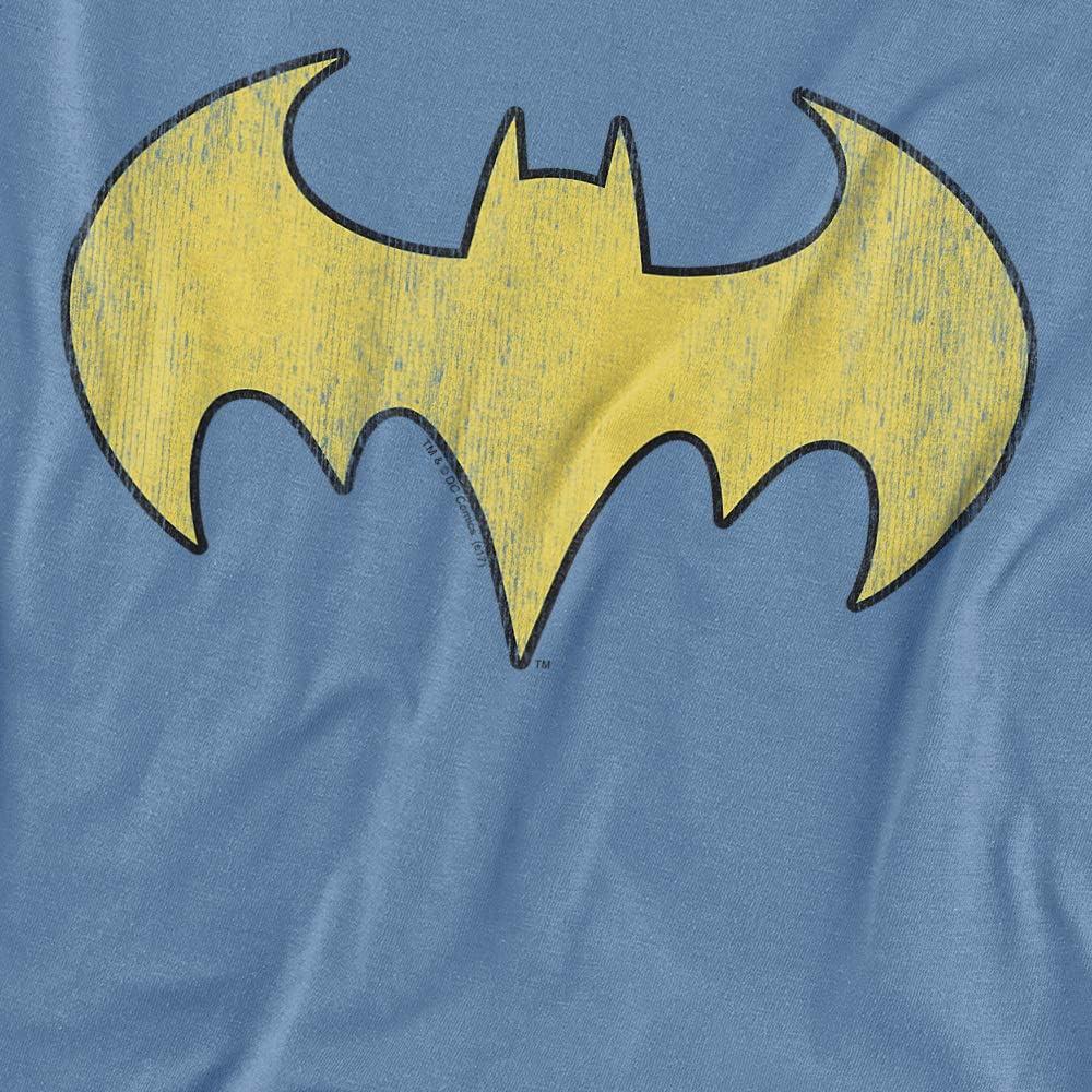 DC Batgirl Logo Distressed Unisex Youth T Shirt, Carolina Blue, Small