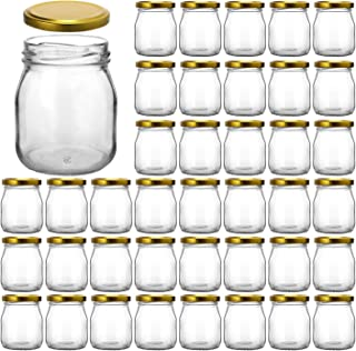 Glass Jars, KAMOTA 40 PACK 4 oz Clear Yogurt Jars With Gold Lids, Glass Pudding Jars Yogurt Jars Ideal for Jam, Honey, Wedding Favors, Shower Favors, Baby Foods (150ml)