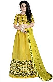 Indian Dresses Store at Vaghasiya Women's Banglori Satin Embroidery Semi-Stichched Lehenga Choli(Yellow)