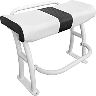 Leaning Post with Grab Rail, Under seat Storage and recessed Foot Rest- Universal Design for Center Console Boats- White- Pro Series
