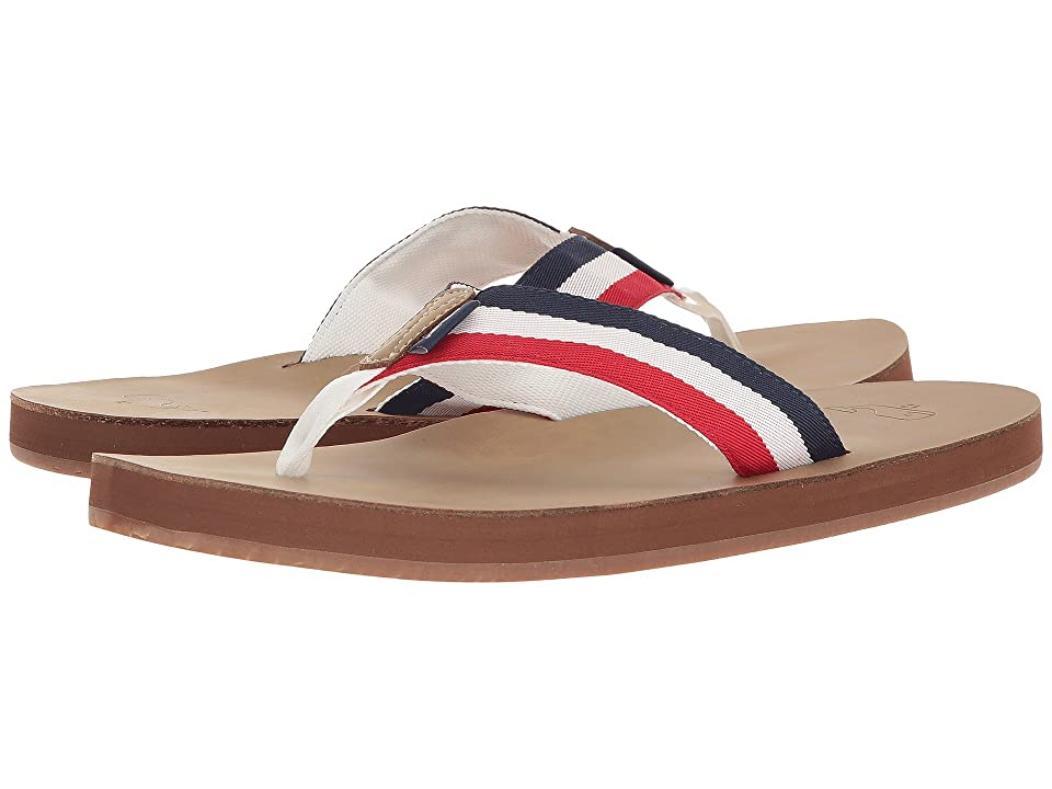 Vineyard Vines Leather Grosgrain Flip-Flops (Nautical Red) Men