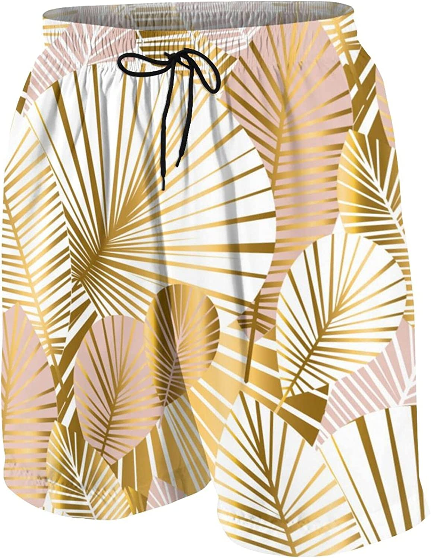 Golden Palm Leaf Teen Boys Quick Dry Surf Swim Trunk Soft Youth Summer Beach Board Shorts