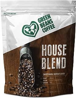 Green Beans Coffee Premium House Blend, Medium Roast, Ground, 2 Pound Bag