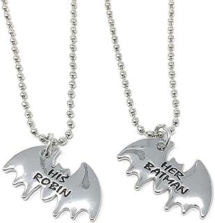 Collar con Colgante de Batman de Tono Plateado con Grabado Robin de 2 x 1,5 cm con Cadena de 45 cm para Mejores Amigos y para Siempre Novias