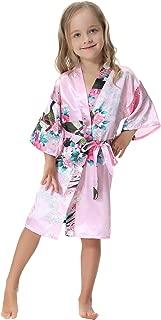 Aibrou Girls' Peacock Satin Kimono Robe Bathrobe Nightgown Party Wedding