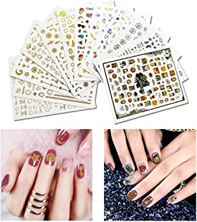 Fanme 12 Sheets Nail Stickers 3D Flower and Gold Nail Art Tattoo Decals DIY Nail Art Decoration Self-adhesive Tip Stickers 4Sheets (Mix)