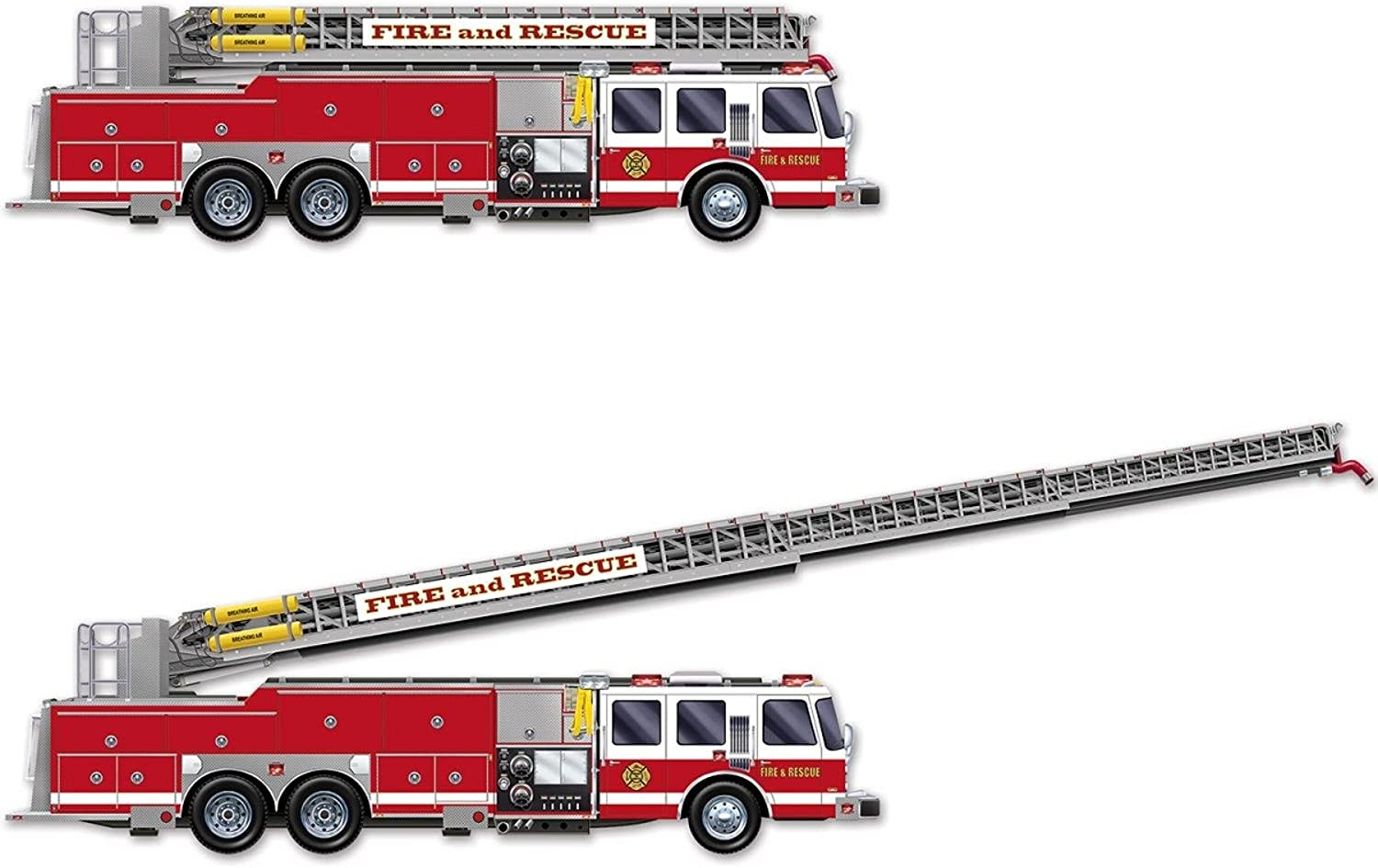 Club Pack of 12 Printed Fire Truck with Jointed Ladder Party Decorations 5'