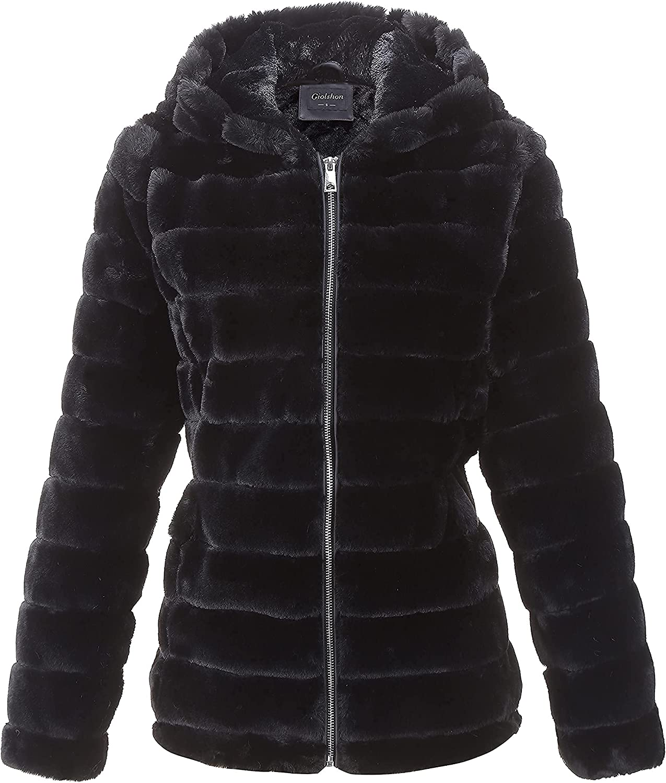 Giolshon Women's Faux Fur Fleece Shearling Coat Fluffy Fuzz