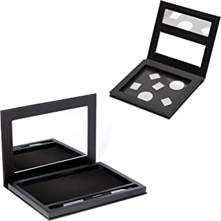 Magnetic Eyeshadow Makeup Palettes Empty - Large Pallete Organizer with Mirror, Black Case with Metal Stickers, Duo End Brush, Strong Magnets, Plus Small Travel Case, Custom Palette for Depotting