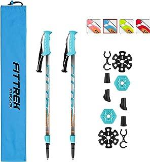 FitTrek Trekking Poles Adjustable - Lightweight Telescopic Walking Sticks - Ultralight Collapsible Hiking Poles for Climbing 2-pc/Pack