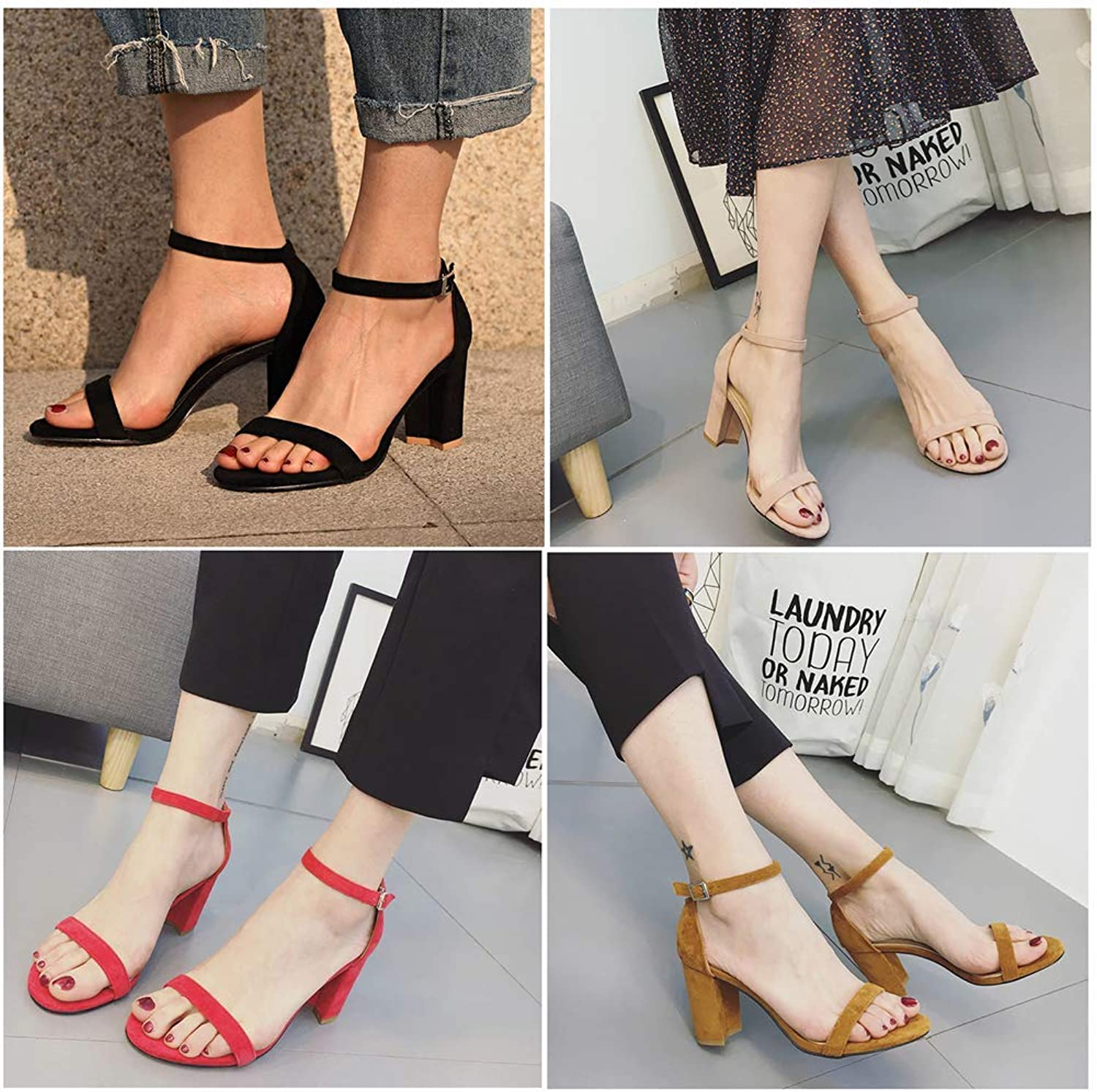 LQT Ltd Chunky Heel Women Ankle Strap Gladiator Sandals Women's Summer shoes Fashion Female Sandilas Cover Heel Flock Party shoes