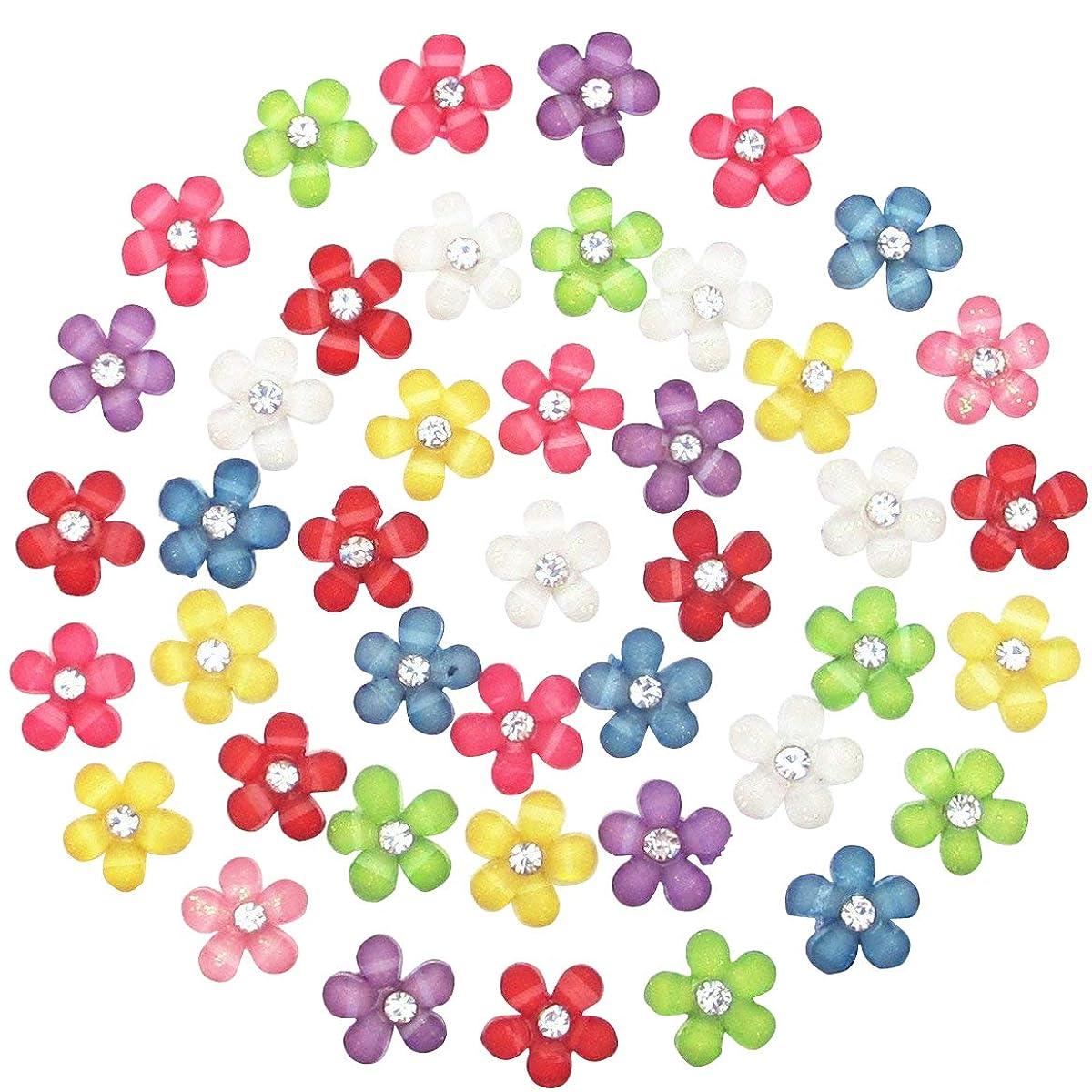 Dandan DIY 80pcs 10mm(0.4'') Mini Resin Flowers with Shiny Rhinestone Flatback Resin Buttons Resin Flatback Craft Flowers Phonecover Cards Craft Scrapbooking