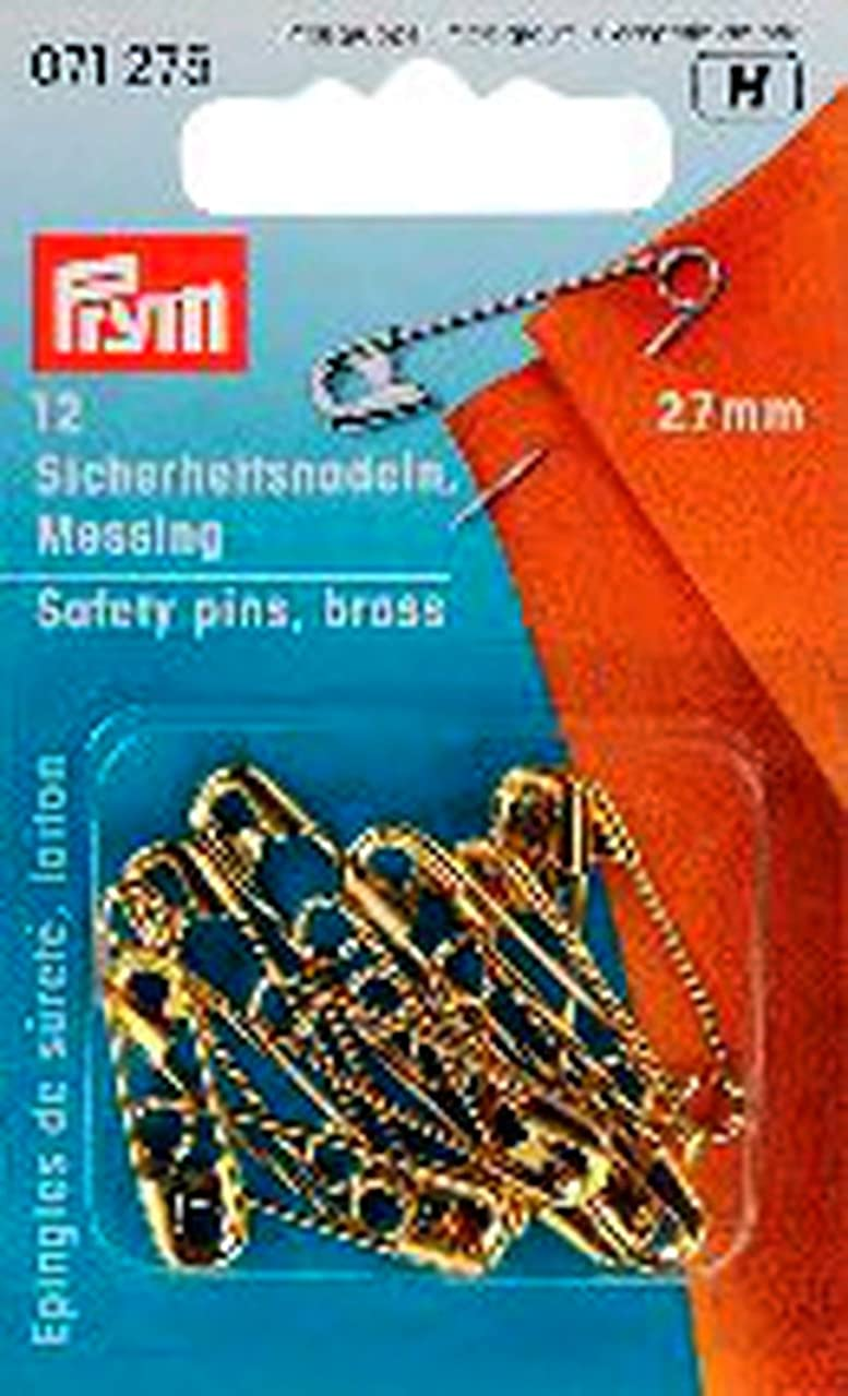 PRYM 27 mm Safety Pins with Coil Brass, Pack of 12, Silver