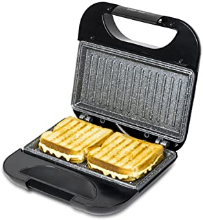 Cecotec Rock'n Toast Sandwich Squared, Grill avec revêtement anti-adhérent, Capacité pour 2 sandwichs, Surface Grill, Poig...