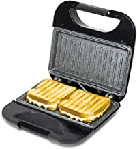 Cecotec Sandwichera Rock'nToast Square. Revestimiento Antiadherente RockStone, Capacidad para 2 Sandwiches, Superficie Grill, Asa Tacto Frío, Recogecables, 750 W